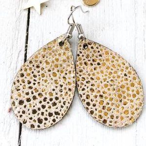 Gold Speckled Leather Teardrop Earrings